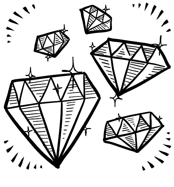 Diamond Shape, : Diamond Shape Gem Sketches Coloring Pages