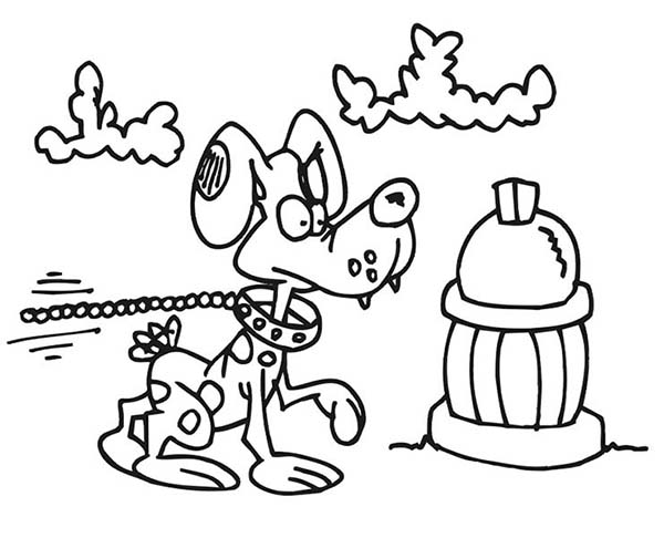 Fire Dog, : Dog and Fire Hydrant Coloring Pages