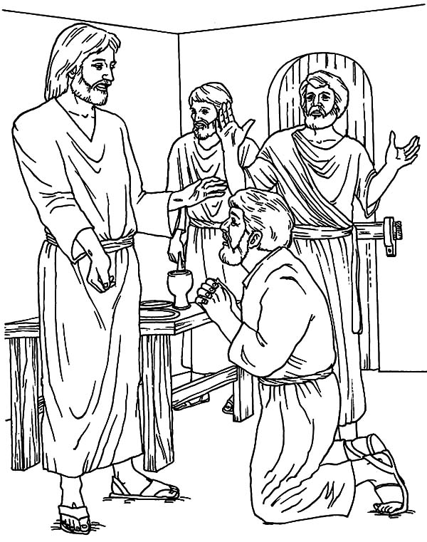 Doubting Thomas, : Doubting Thomas Ask Jesus Some Question Coloring Pages