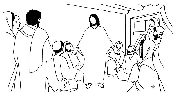 Doubting Thomas, : Doubting Thomas Ask Jesus to Show His Wound Coloring Pages