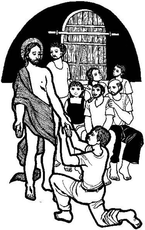 Doubting Thomas, : Doubting Thomas Holding Jesus Hand Coloring Pages