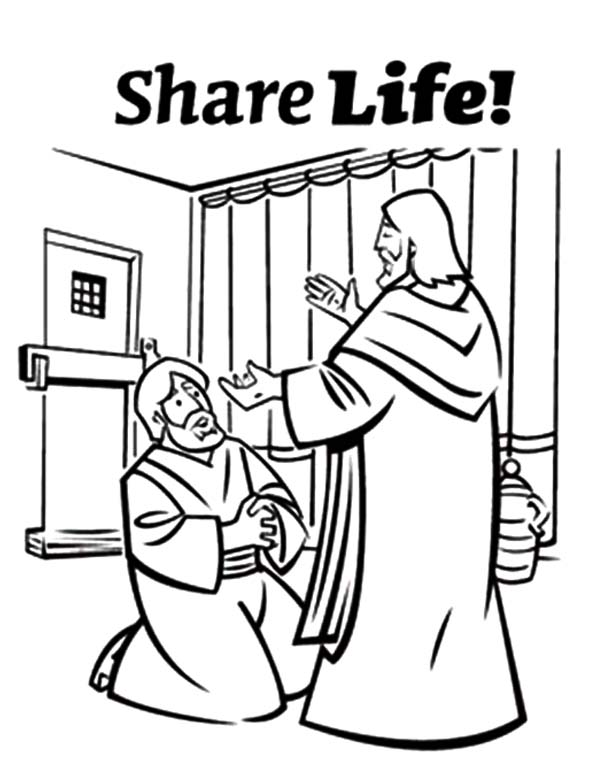 Doubting Thomas, : Doubting Thomas Kneeling Before Jesus Christ Coloring Pages