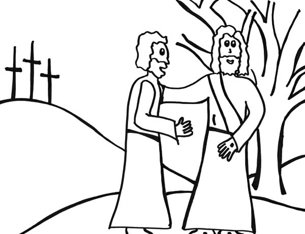 Doubting Thomas, : Doubting Thomas Meet Jesus Christ Coloring Pages