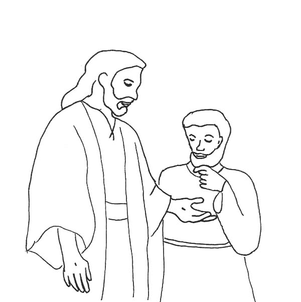 Doubting Thomas, : Doubting Thomas Saw Wound on Jesus Hand Coloring Pages