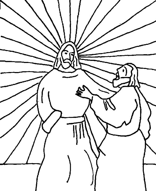 Doubting Thomas, : Doubting Thomas Saw the Light Behind Jesus Coloring Pages