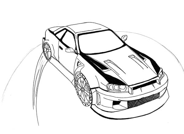 Drifting Cars, : Drifting Cars Making Round Mark Coloring Pages