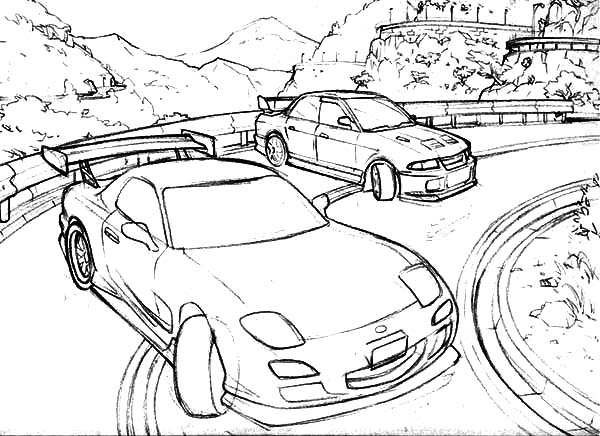 Drifting Cars, : Drifting Cars Up on the Hill Coloring Pages