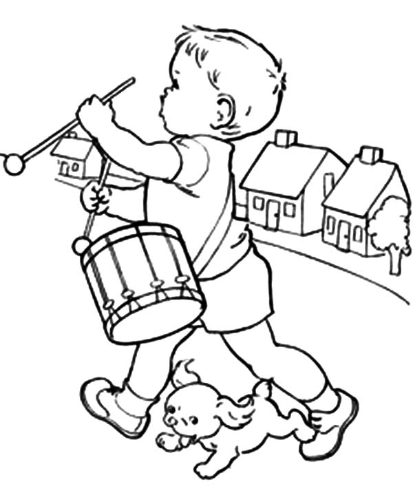 Drummer Boy, : Drummer Boy Chased by His Dog Coloring Pages