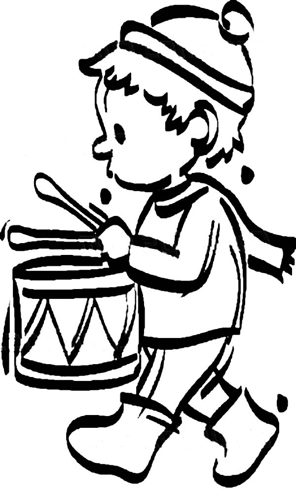 Drummer Boy, : Drummer Boy Concentrate Beating Drum Coloring Pages