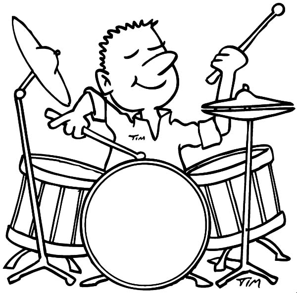 Drummer Boy, : Drummer Boy Enjoy Playing Drum Coloring Pages