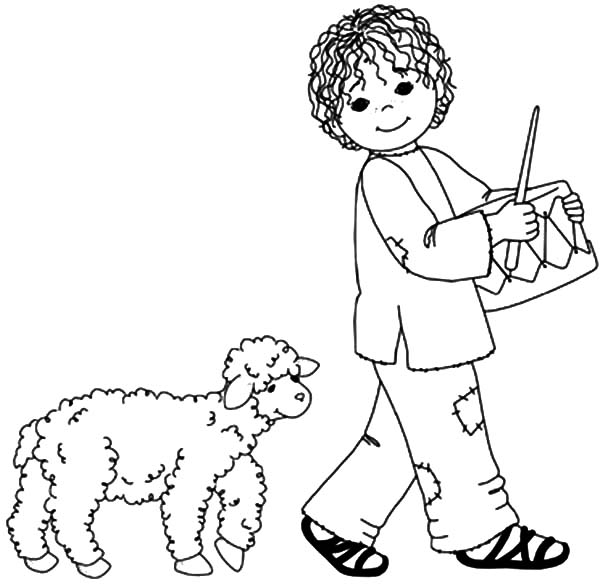 Drummer Boy, : Drummer Boy Followed by His Sheep Coloring Pages