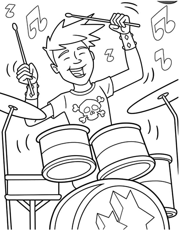 Drummer Boy, : Drummer Boy and Band Showtime Coloring Pages