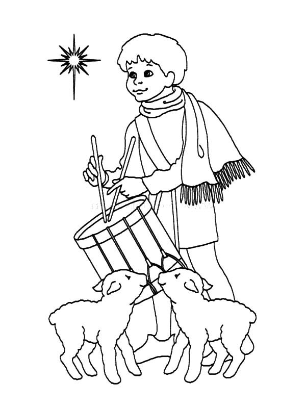 Drummer Boy, : Drummer Boy and Two Sheep Play Drum Coloring Pages