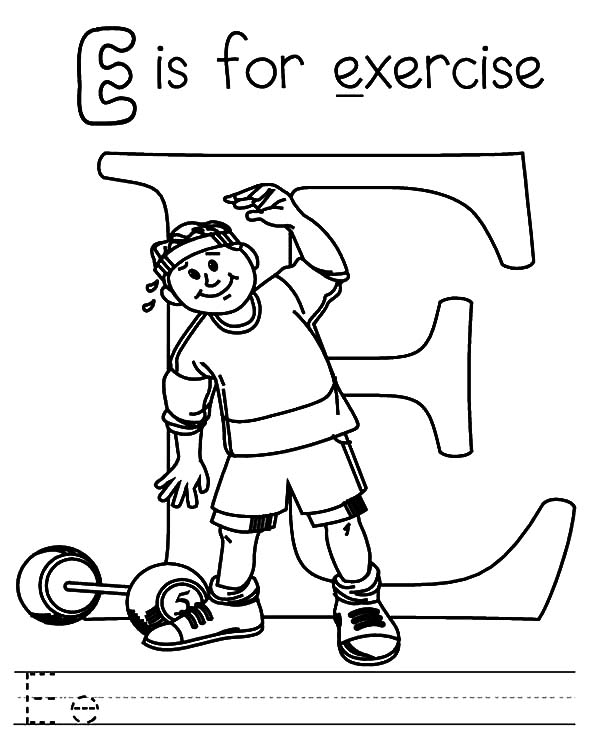 Exercise, : Exercise Alphabet Coloring Pages
