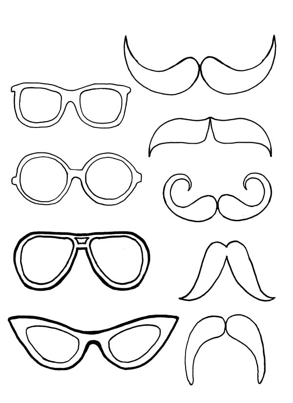 Eyeglasses, : Eyeglasses Pair with Mustache Coloring Pages