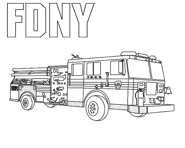 Fire Engine, : FDNY Fire Engine Troops Coloring Pages