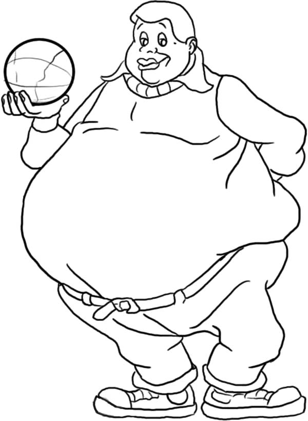 Fat Boy, : Fat Albert Boy Holding a Ball Coloring Pages