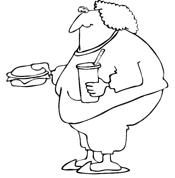 Fat Boy, : Fat Boy Eating Fast Food Coloring Pages