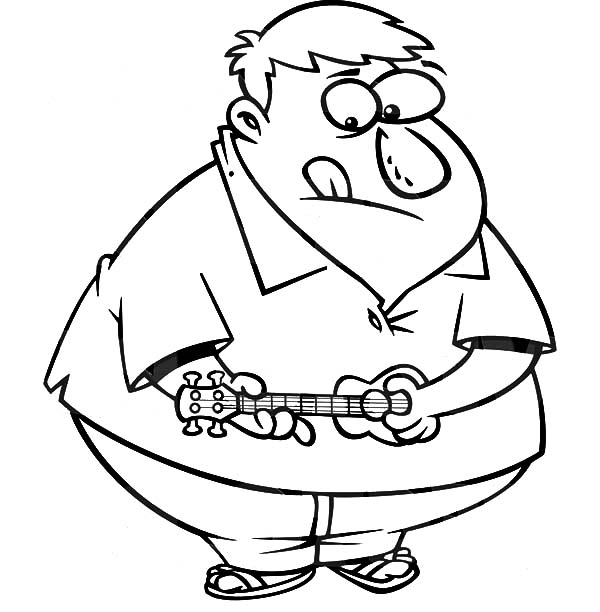 Fat Boy, : Fat Boy Try to Play Ukulele Coloring Pages