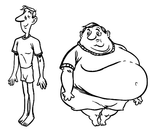 Fat Boy, : Fat Boy and Slim Boy Coloring Pages