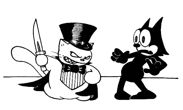 Felix The Cat, : Felix the Cat Being Robbed by Magician Coloring Pages