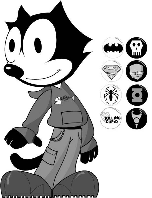 Felix The Cat, : Felix the Cat Hero Costume Coloring Pages