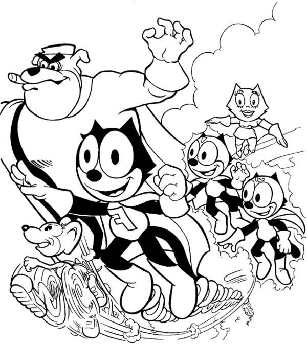Felix The Cat, : Felix the Cat and Friends Coloring Pages
