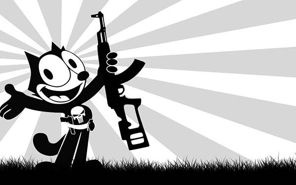 Felix The Cat, : Felix the Cat is the Punisher Coloring Pages