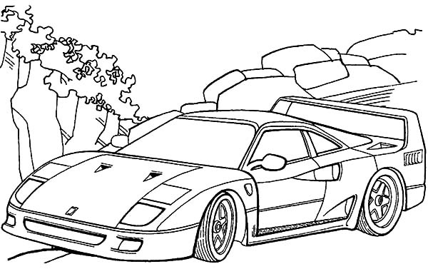 Ferrari Cars, : Ferrari F40 Cars Coloring Pages