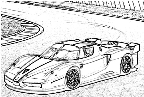 Ferrari Cars, : Ferrari FXX Cars Drifting Coloring Pages