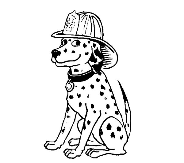 Fire Dog, : Fire Dog is Smiling Coloring Pages