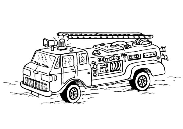 Fire Engine Coloring Page Firefighter With Fire Hose Coloring