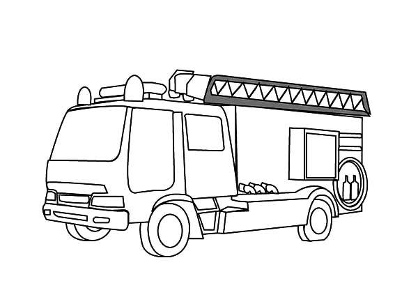 Fire Engine, : Fire Engine Coloring Pages