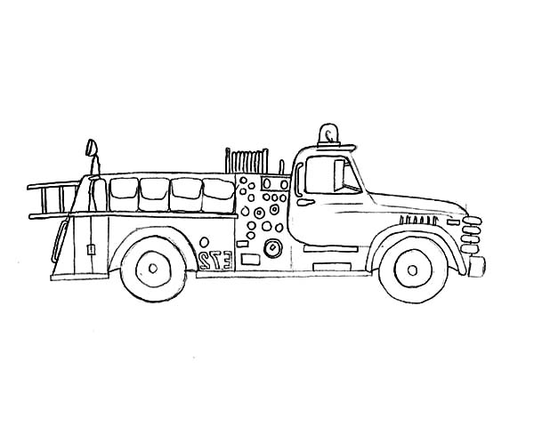 Fire Engine, : Fire Engine Rescuing People from Fire Coloring Pages
