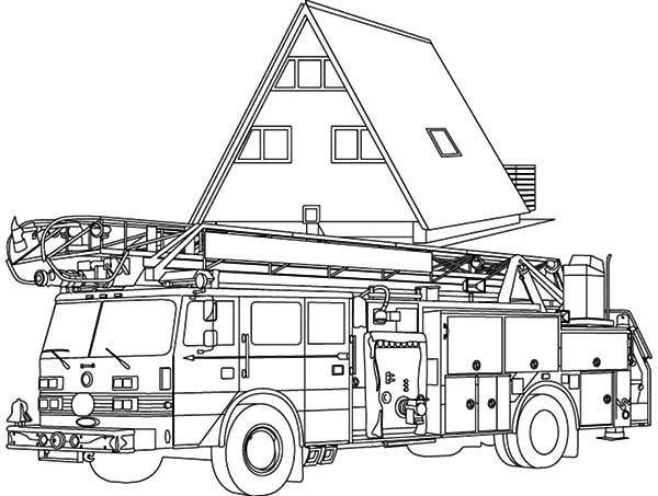 Fire Engine, : Fire Engine at Head Quarter Coloring Pages