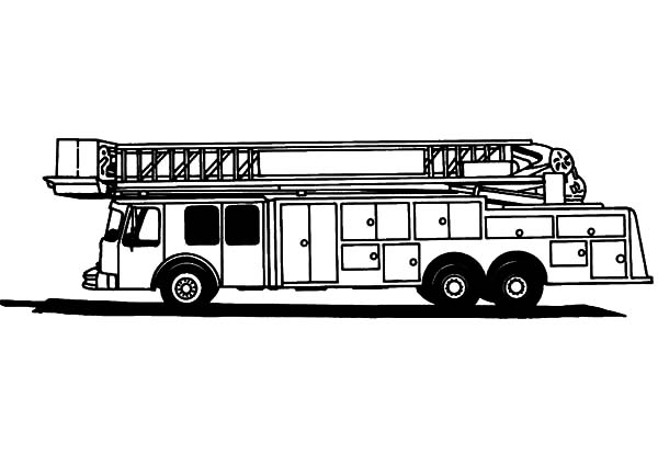 Fire Engine, : Fire Engine for Tall Building Coloring Pages