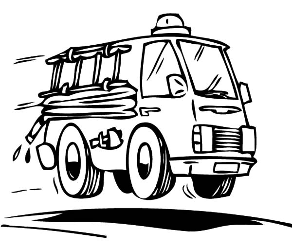 Fire Engine, : Fire Engine on Duty Coloring Pages