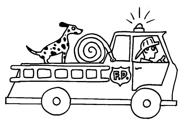 Fire Engine, : Fire Engine with Sirine Lamp Coloring Pages