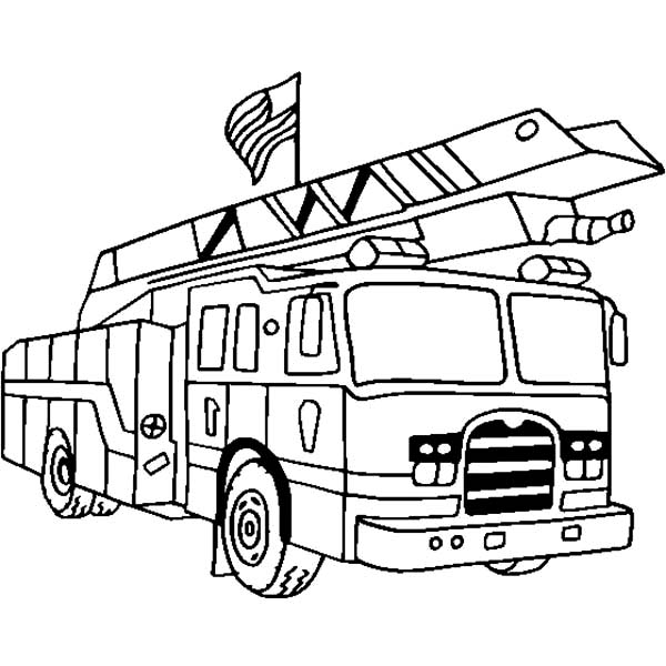 Fire Engine, : Fire Engine with US Flag Coloring Pages