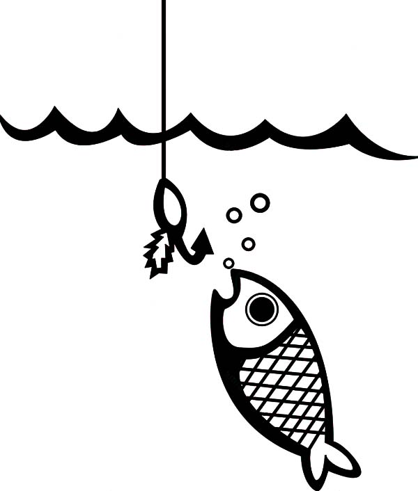 Fishing Lures, : Fish Eat Fishing Lures Coloring Pages