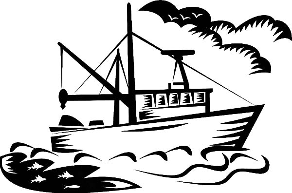 Fishing Boat, : Fishing Boat Image Coloring Pages