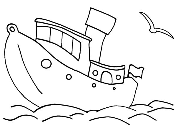 Fishing Boat, : Fishing Boat Outline Coloring Pages