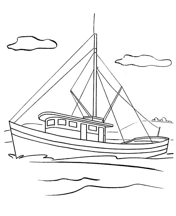 Fishing Boat, : Fishing Boat Picture Coloring Pages