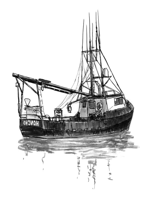 Fishing Boat, : Fishing Boat Trawler Coloring Pages