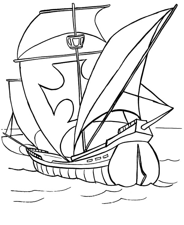 Fishing Boat, : Galleon Fishing Boat Coloring Pages