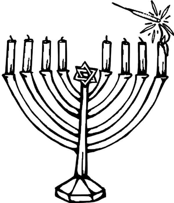 Kinara, : Hanukkah Candles Kinara Coloring Pages