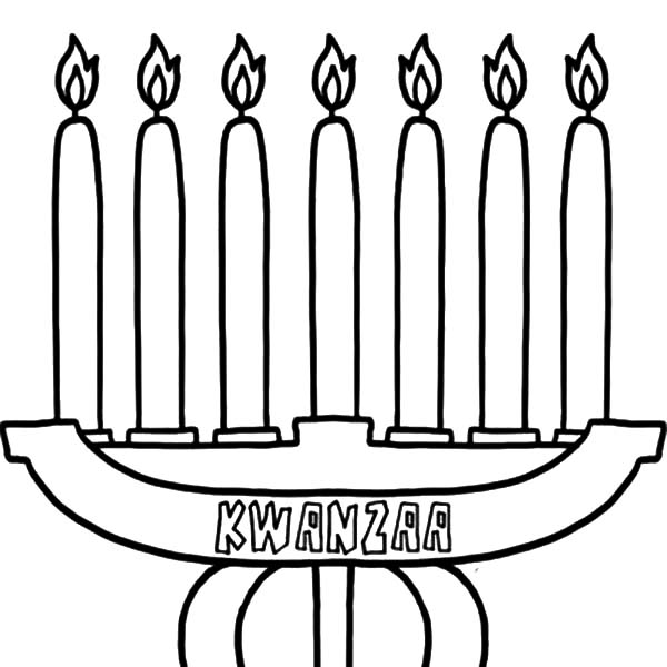 Kinara, : Happy Kwanzaa Candles Kinara Coloring Pages