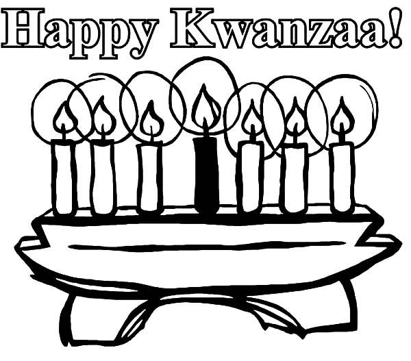 Kinara, : Happy Kwanzaa Day Kinara Coloring Pages