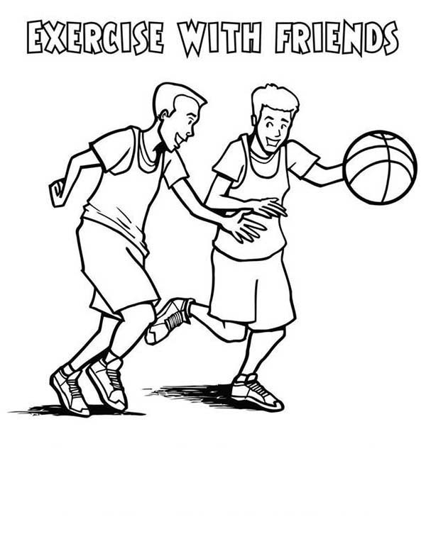 Exercise, : Health Fitness Exercise with Friends Coloring Pages