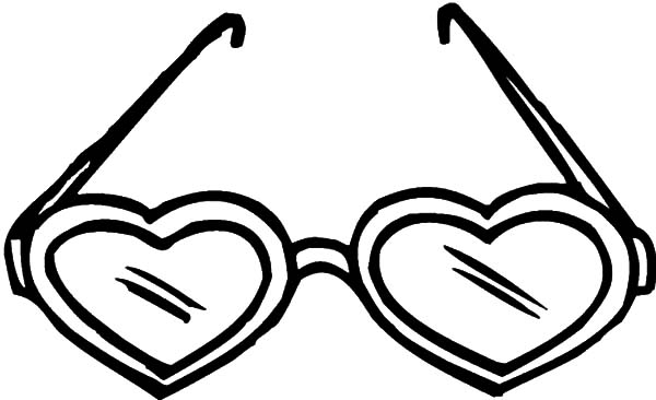 Eyeglasses, : Heart Shaped Eyeglasses Coloring Pages